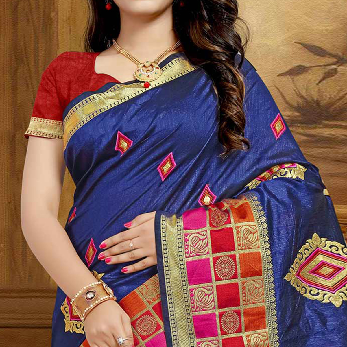 Pretty Navy Blue Colored Festive Wear Designer Woven Silk Saree