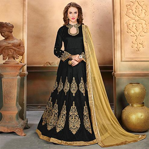 Ravishing Black Colored Embroidered Partywear Mulberry Silk Anarkali Suit