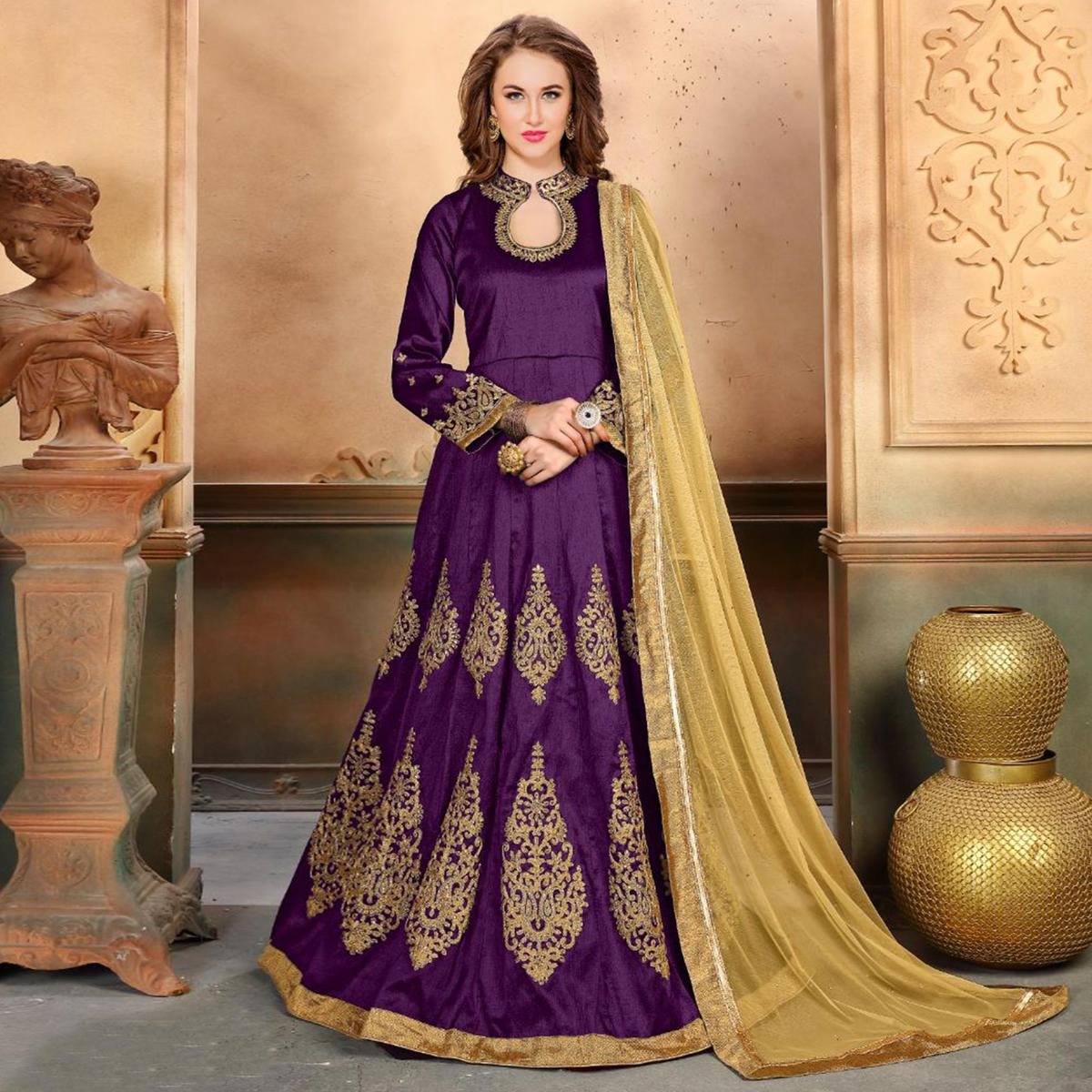 Charming Purple Colored Embroidered Partywear Mulberry Silk Anarkali Suit