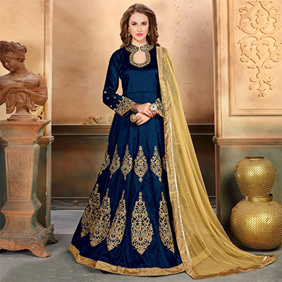 Gorgeous Blue Colored Embroidered Partywear Mulberry Silk Anarkali Suit