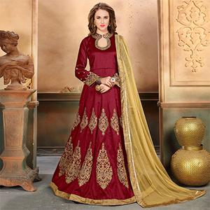 Stunning Red Colored Embroidered Partywear Mulberry Silk Anarkali Suit