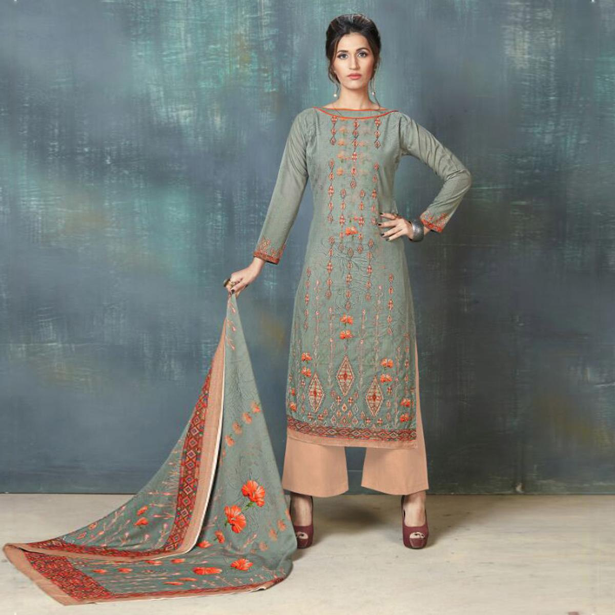 497f435c10 Buy Gorgeous Gray Colored Digital Printed And Embroidered Muslin Cotton  Salwar Suit for womens online India, Best Prices, Reviews - Peachmode