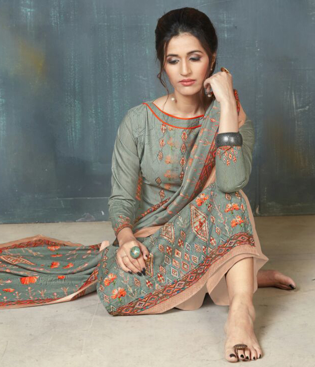 Gorgeous Gray Colored Digital Printed And Embroidered Muslin Cotton Salwar Suit
