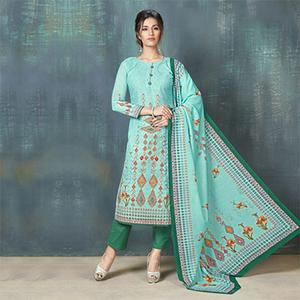 Appealing Blue Colored Digital Printed And Embroidered Muslin Cotton Salwar Suit