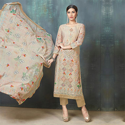 Classy Beige Colored Digital Printed And Embroidered Muslin Cotton Salwar Suit