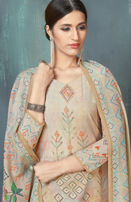 Classy Cream Colored Digital Printed And Embroidered Muslin Cotton Salwar Suit