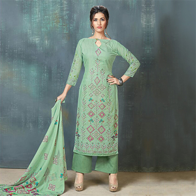 Charming Green Colored Digital Printed And Embroidered Muslin Cotton Salwar Suit