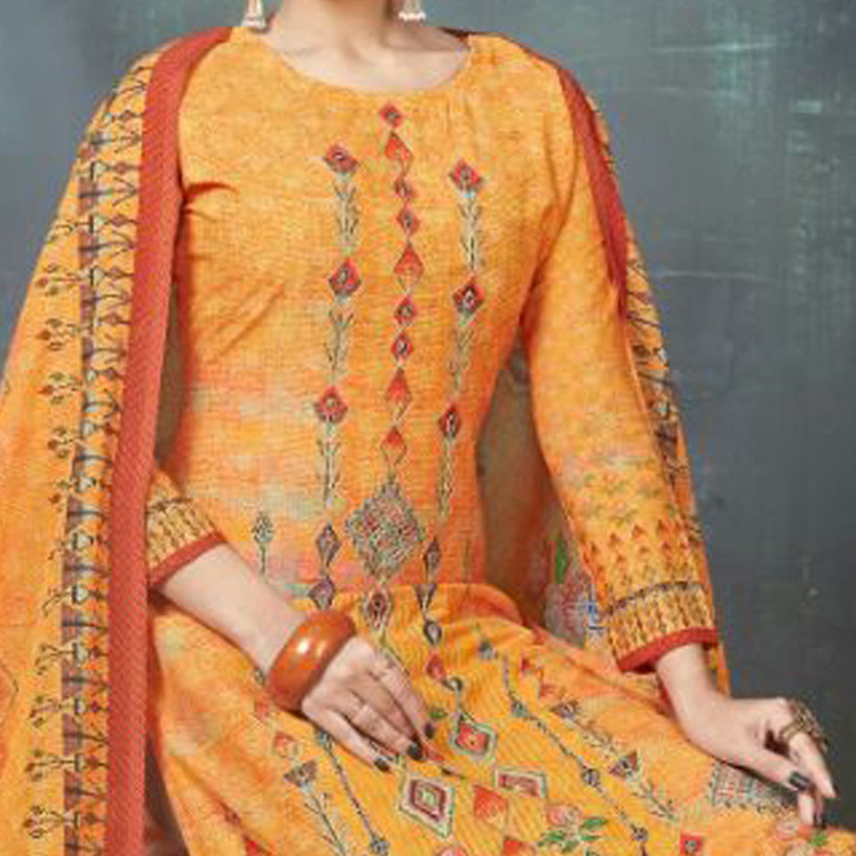Flamboyant Orange Colored Digital Printed And Embroidered Muslin Cotton Salwar Suit