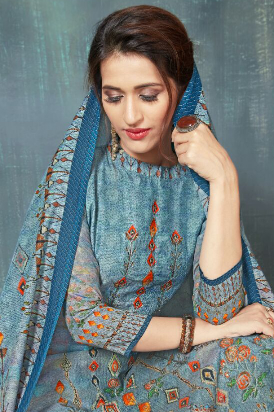 Irresistible Blue Colored Digital Printed And Embroidered Muslin Cotton Salwar Suit