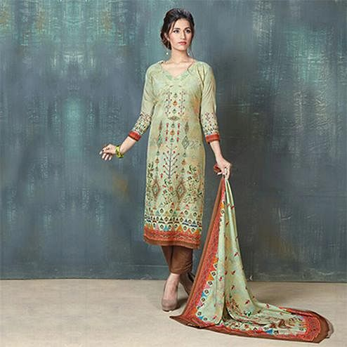 Beautiful Green Colored Digital Printed And Embroidered Muslin Cotton Salwar Suit