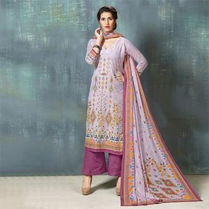 Pretty Purple Colored Digital Printed And Embroidered Muslin Cotton Salwar Suit