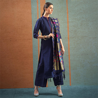 Charming Navy Blue Colored Party Wear Raw Silk Salwar Suit
