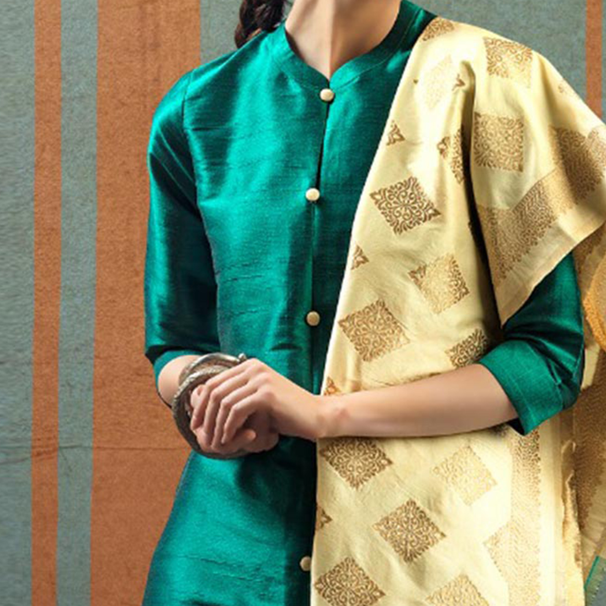 Ravishing Turquoise - Beige Colored Party Wear Raw Silk Salwar Suit
