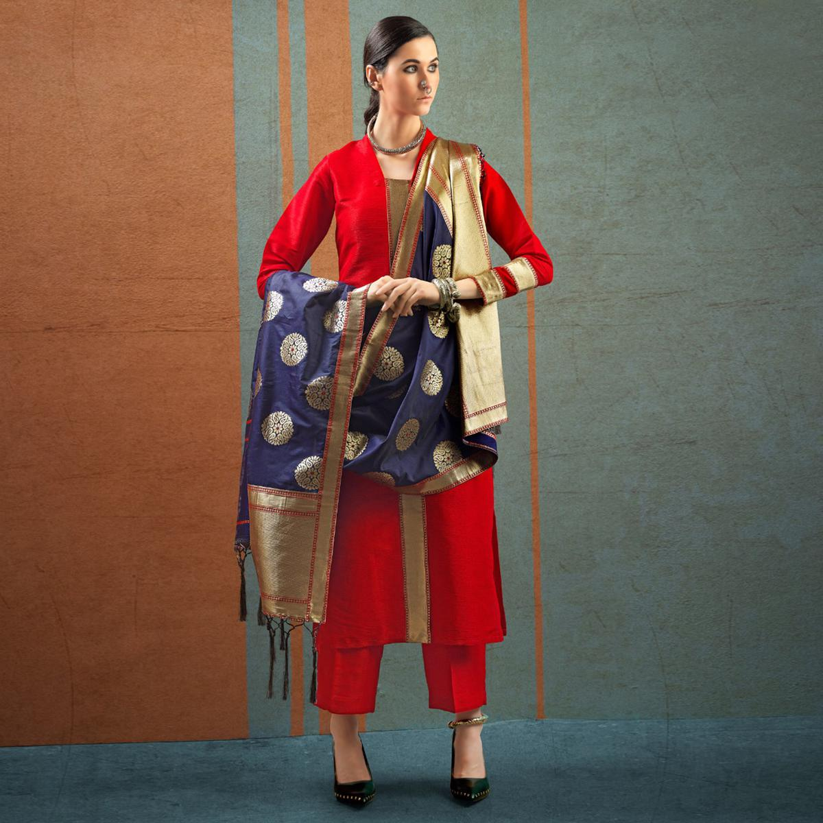 Delightful Red Colored Party Wear Raw Silk Salwar Suit