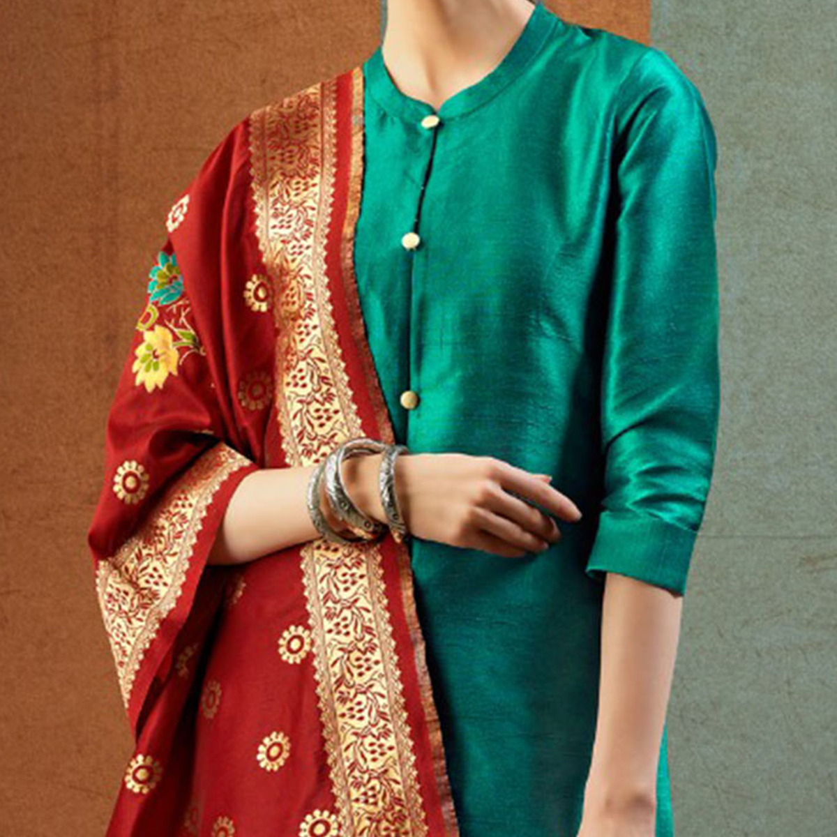 Stunning Turquoise - Maroon Colored Party Wear Raw Silk Salwar Suit