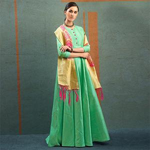 Blooming Pista Green Designer Dupatta Party Wear Raw Silk Gown