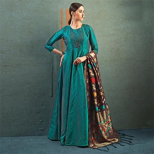 Marvellous Stone Blue Designer Dupatta Party Wear Raw Silk Gown