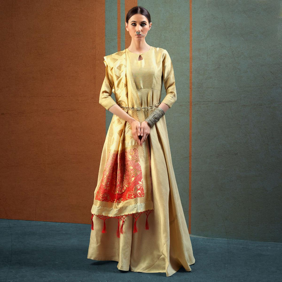 Ravishing Beige - Gold Designer Dupatta Party Wear Raw Silk Gown