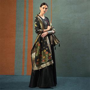 Amazing Black Designer Dupatta Party Wear Raw Silk Gown
