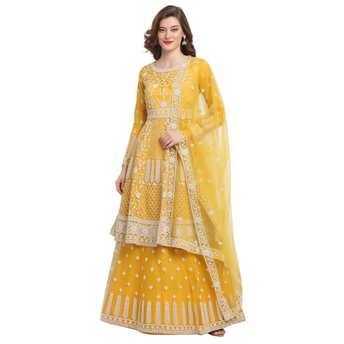 Stylee Lifestyle Yellow Net Embroidered Dress Material