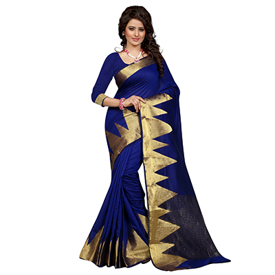 Navy Blue Geometric Design Woven Saree