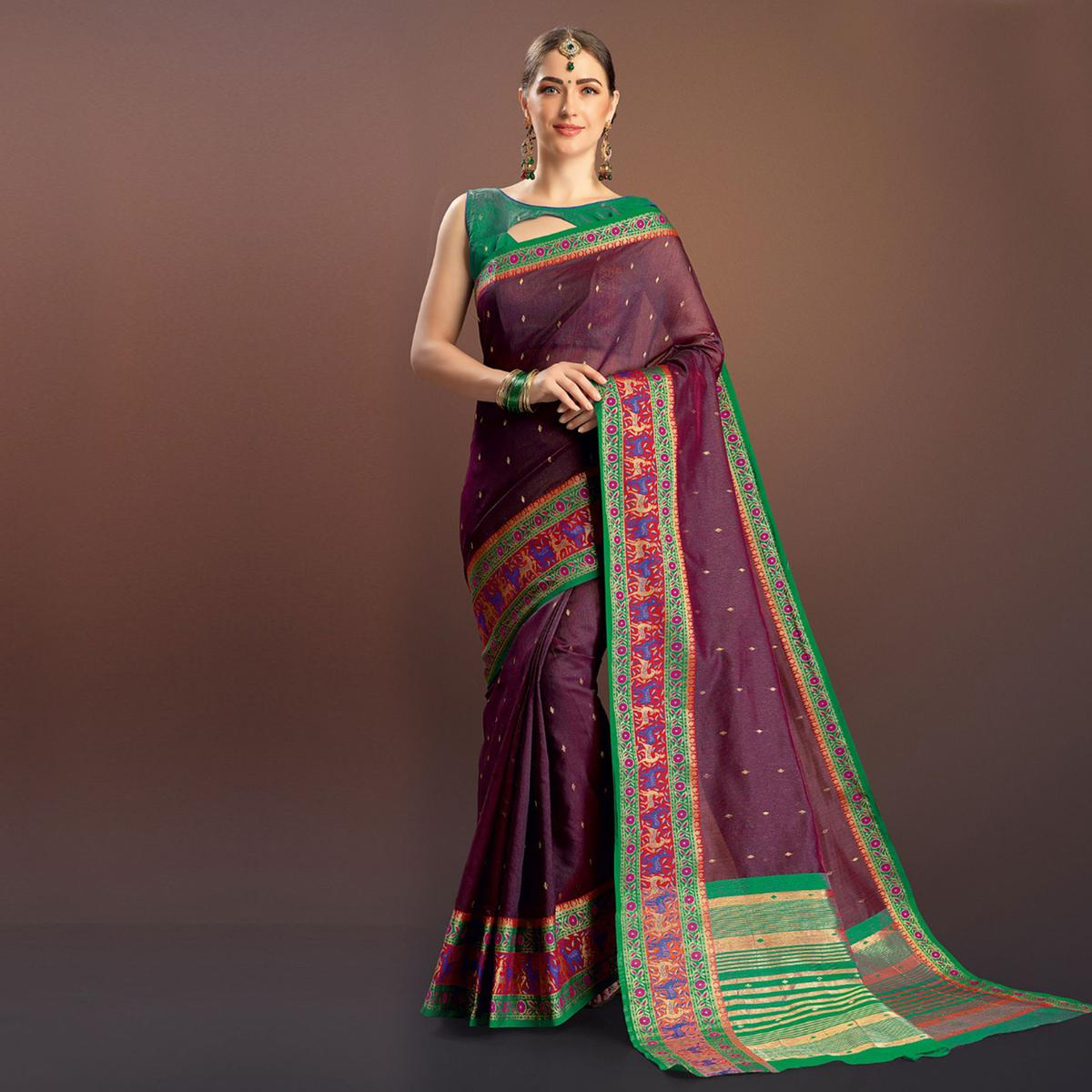 Desirable Wine Colored Festive Wear Cotton Silk Saree
