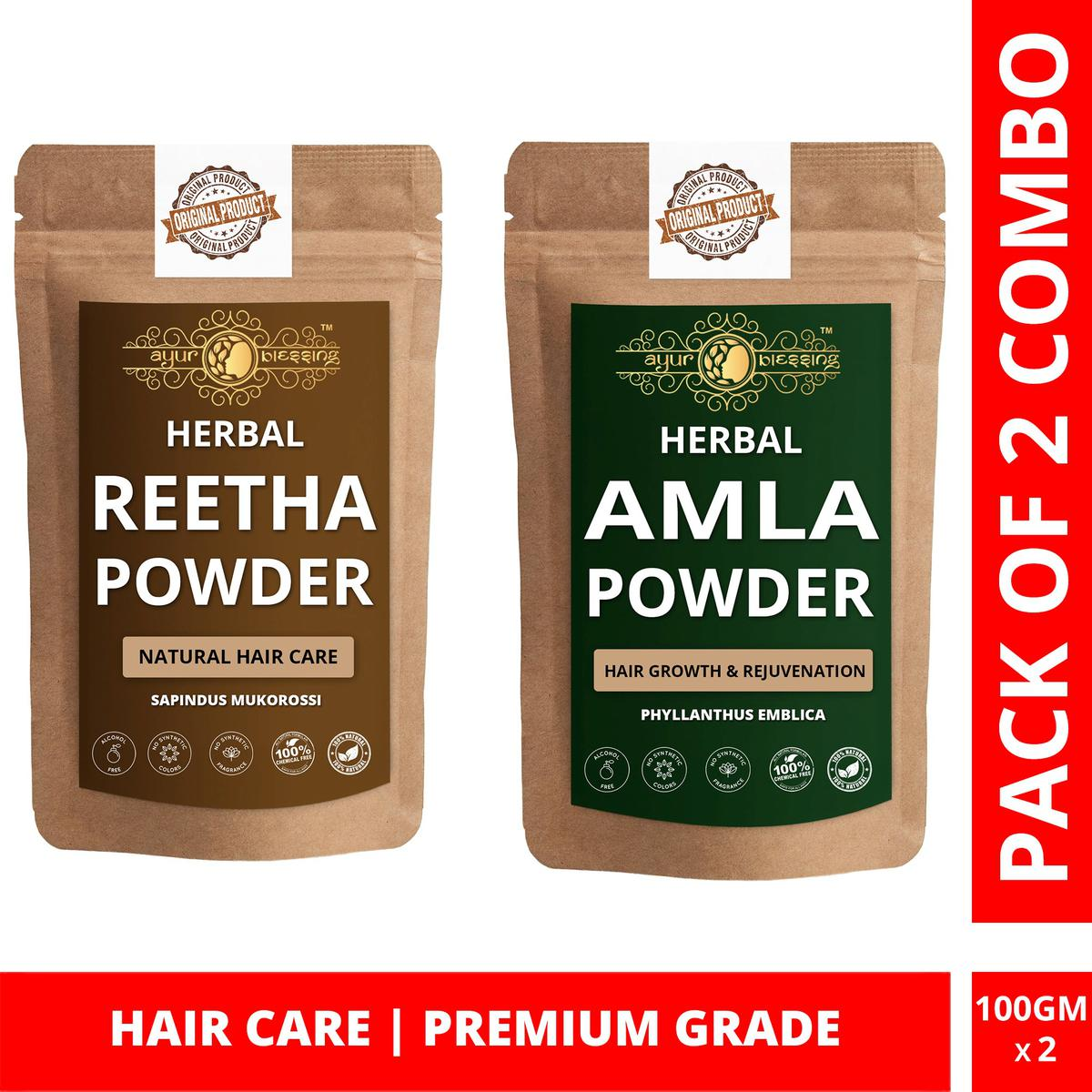 Ayur Blessing - Reetha and Amla Powder Combo Pack, For Hair Care , Pack of 2 (100 Gram * 2)