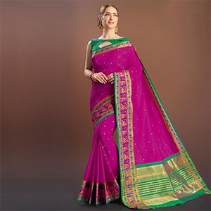 Dark Pink Colored Festive Wear Silk Saree