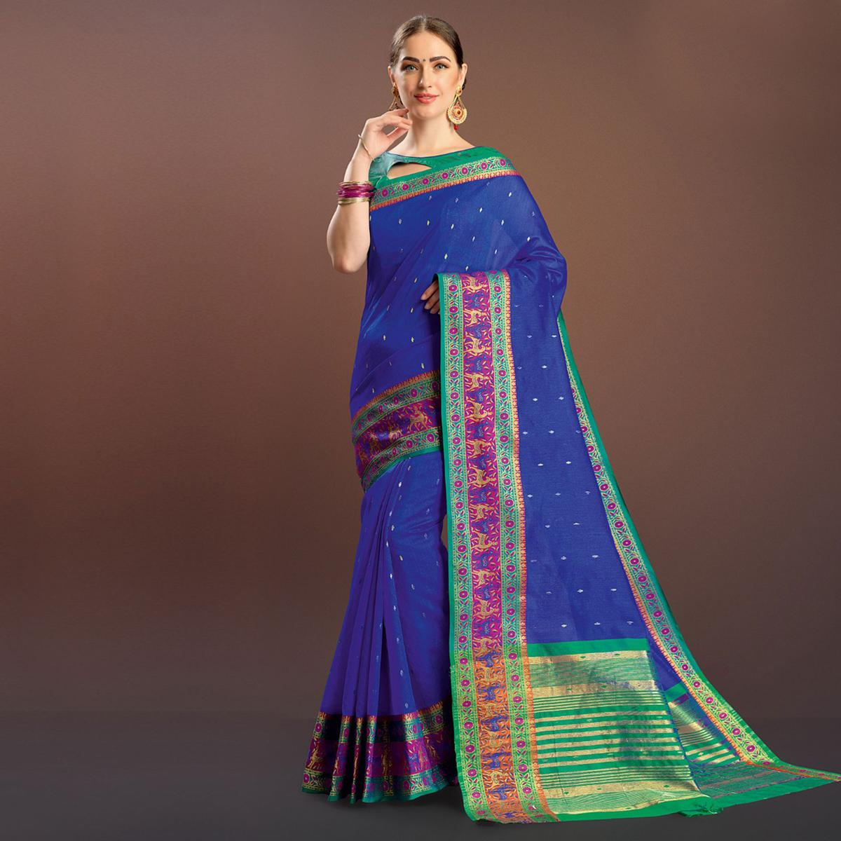 Pleasant Royal Blue Colored Festive Wear Cotton Silk Saree