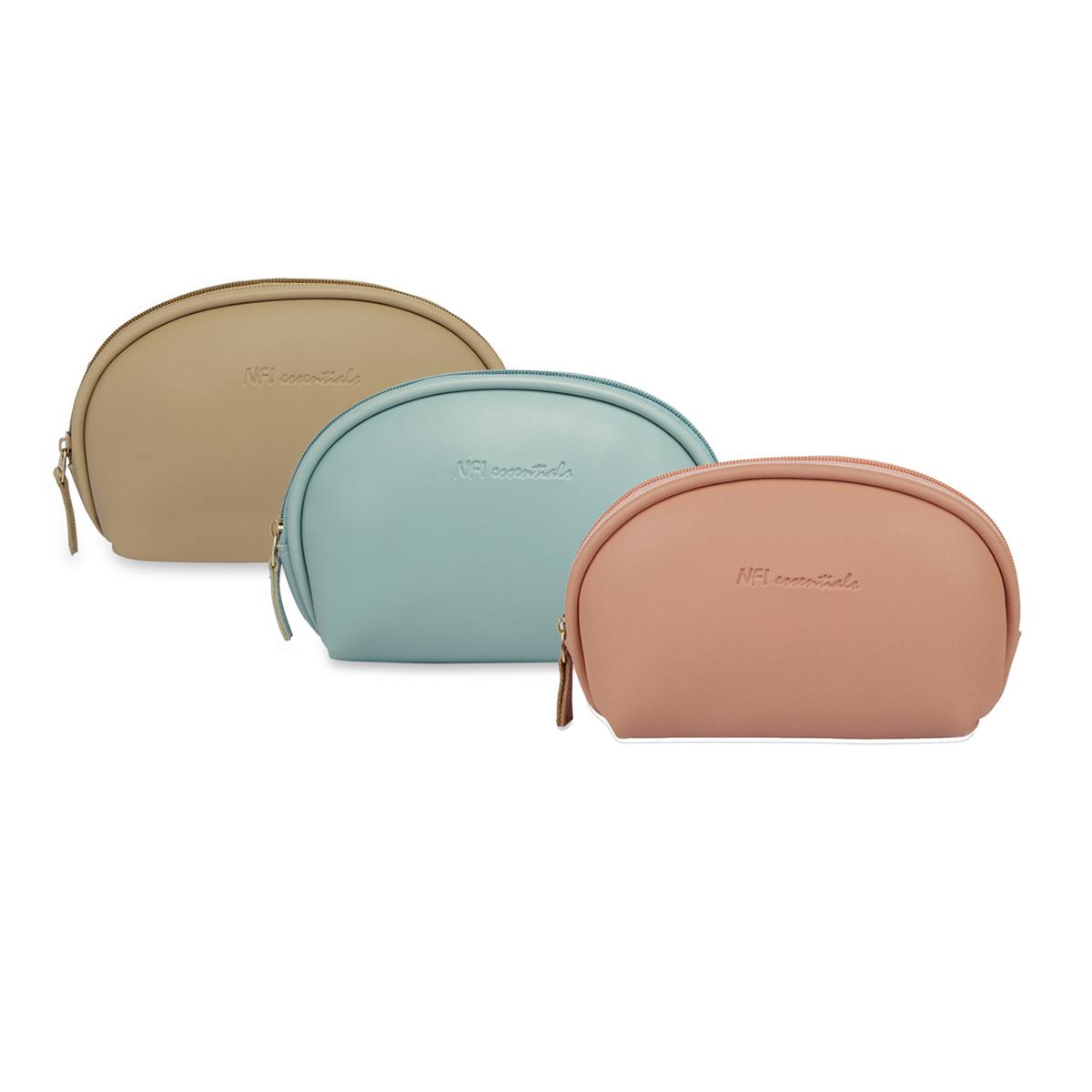 NFI essentials - Cosmetic Pouch | Travel Bag (Light Blue, Light Pink & Beige)- Pack of 3