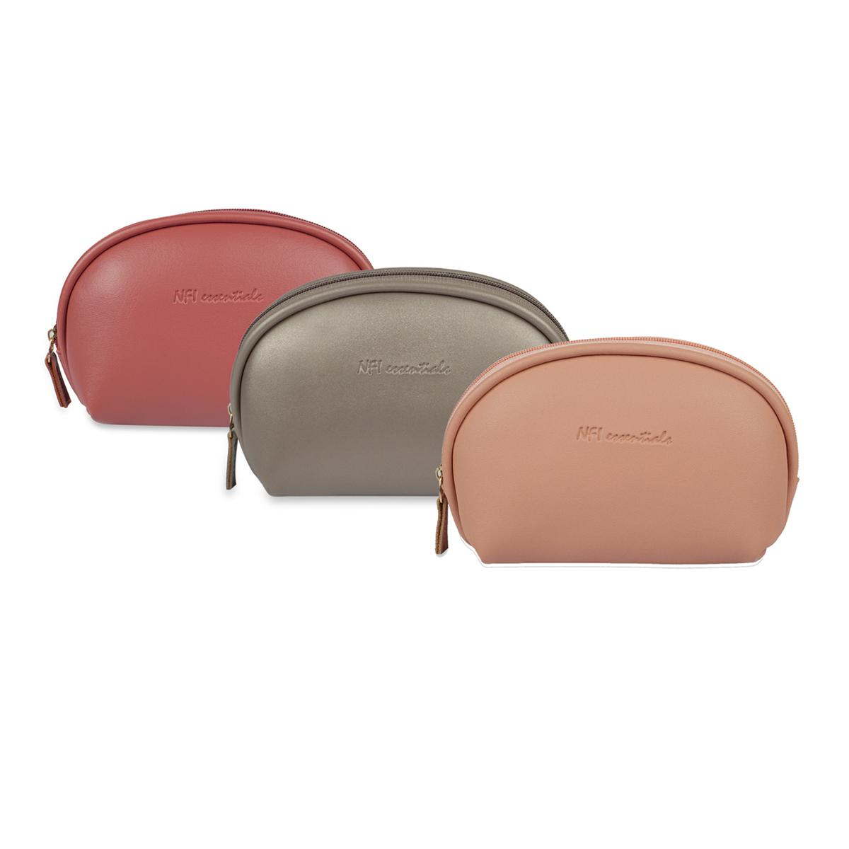 NFI essentials - Cosmetic Pouch | Travel Bag (Dark Pink, Light Pink & Silver)- Pack of 3