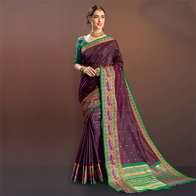 Refreshing Wine Colored Festive Wear Cotton Silk Saree
