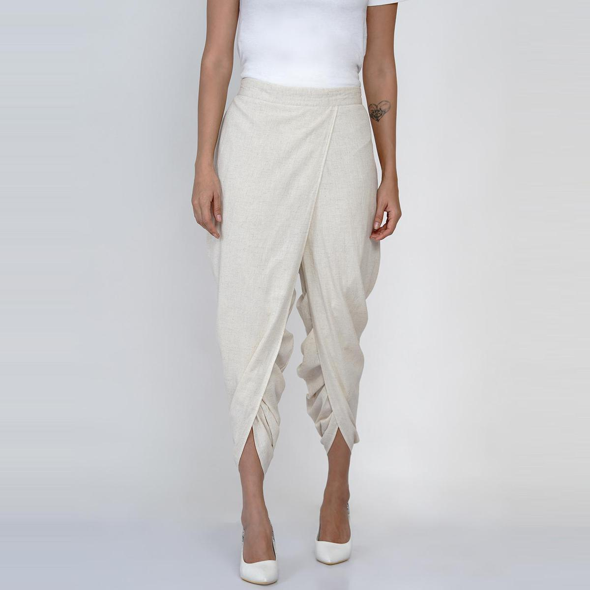 Fabnest - Womens Off White Colored Casual Cotton Dhoti Pant