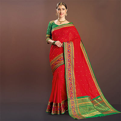 Red Colored Festive Wear Silk Saree