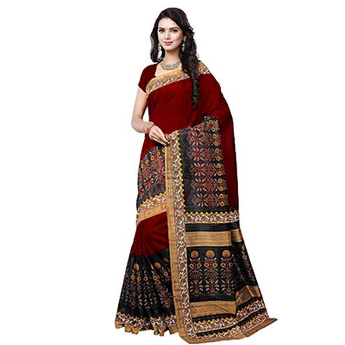 Red - Black Casual Wear Bhagalpuri Saree