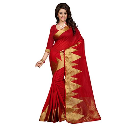 Crimson Red Geometric Design Woven Saree