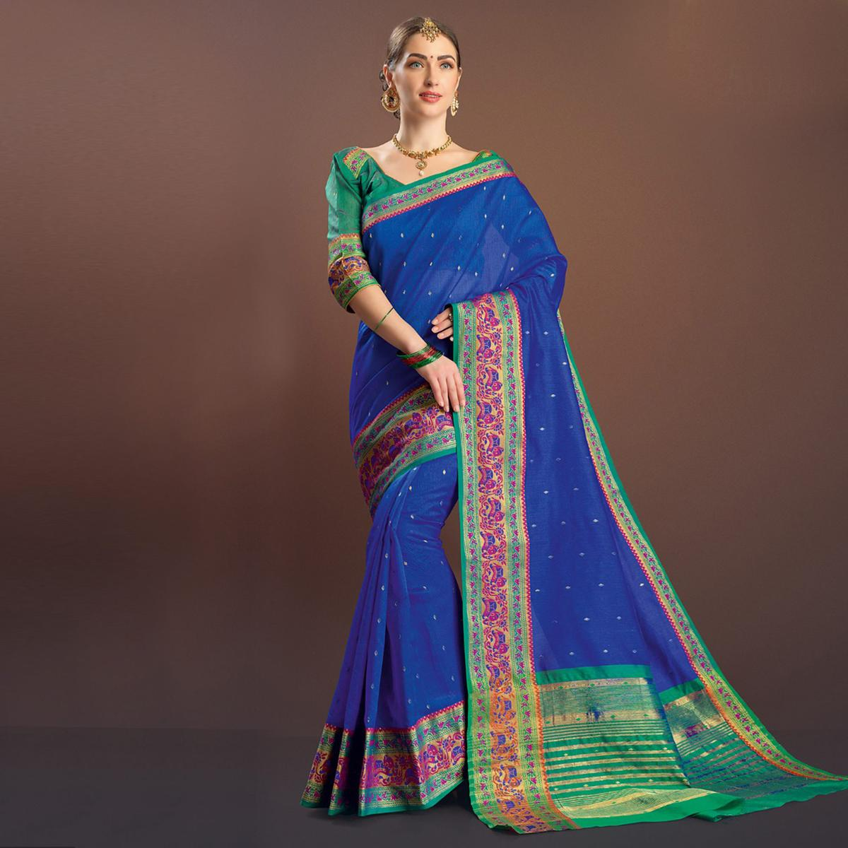 Dazzling Royal Blue Colored Festive Wear Cotton Silk Saree