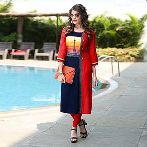 Hot Red-Navy Blue Colored Printed Rayon Kurti