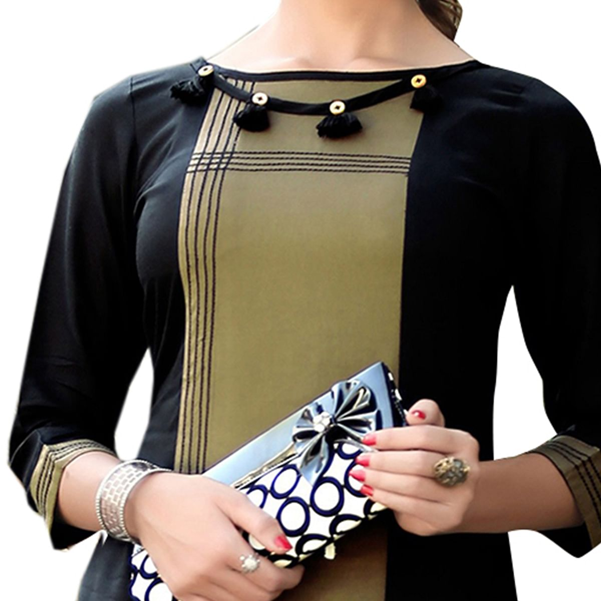Classy Black-Olive Green Colored fancy Rayon Kurti