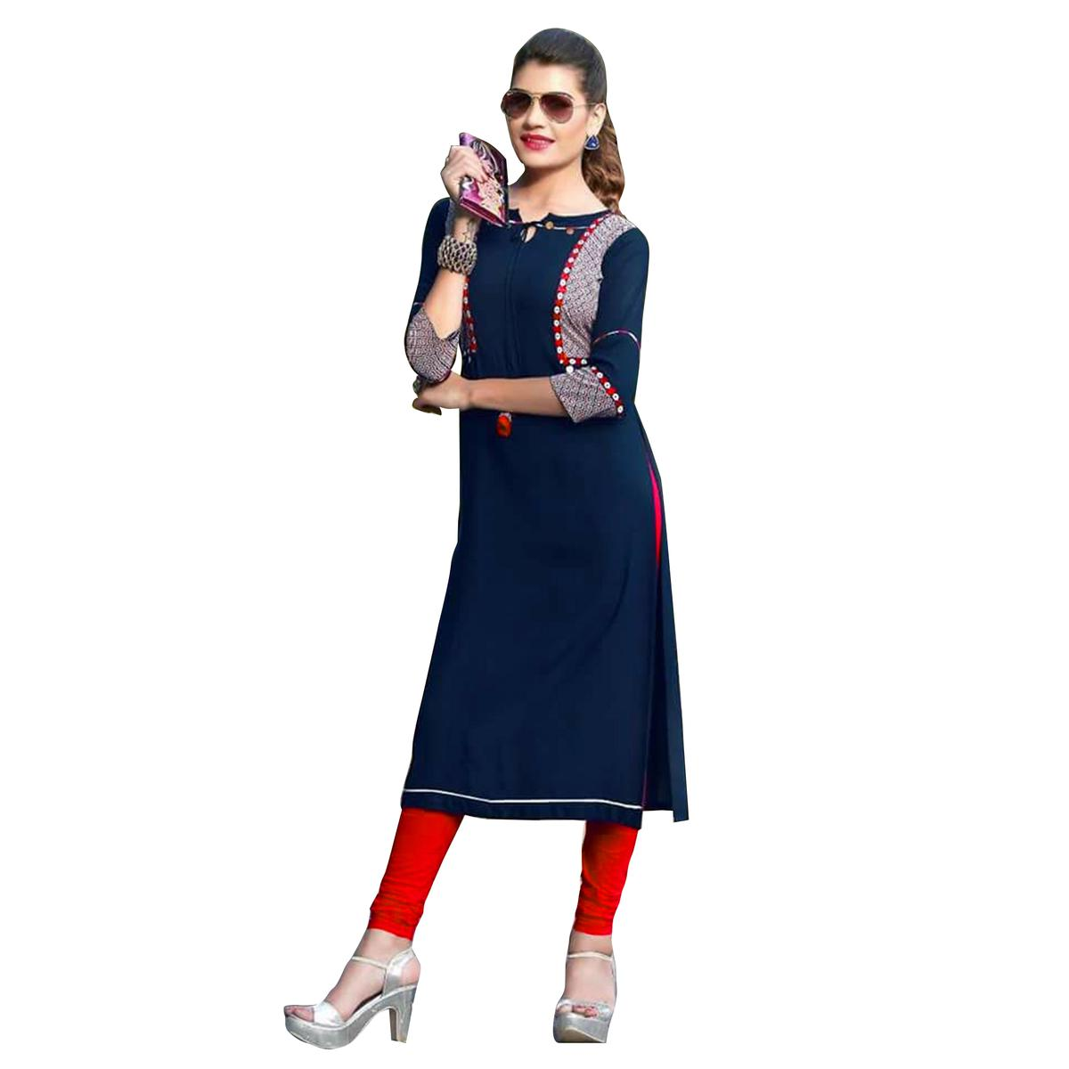 Trendy Navy Blue Colored fancy Rayon Kurti