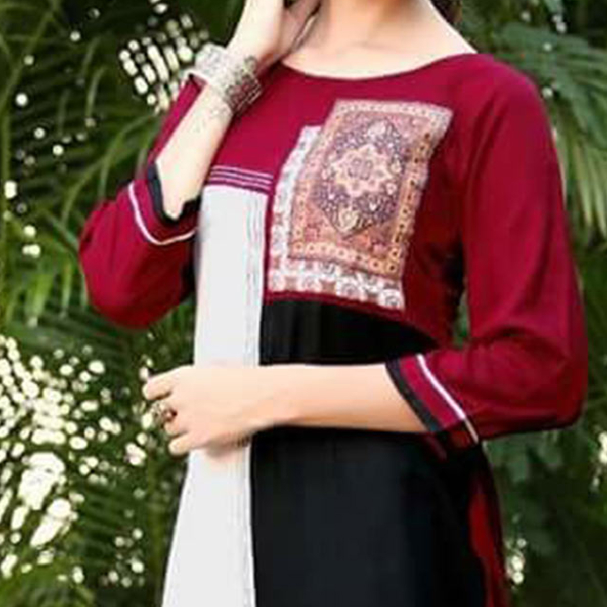 Gorgeous Maroon-Black Colored fancy Rayon Kurti