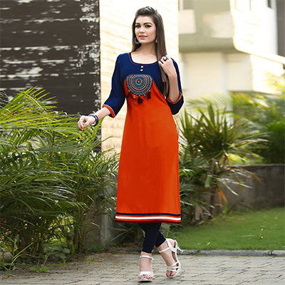 Attractive Orange-Navy Blue Colored Fancy Rayon Kurti