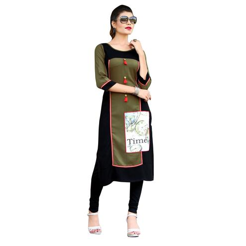 Bold Black-Green Colored Printed Rayon Kurti