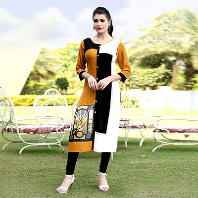 Flirty Black-Yellow Colored Printed Rayon Kurti