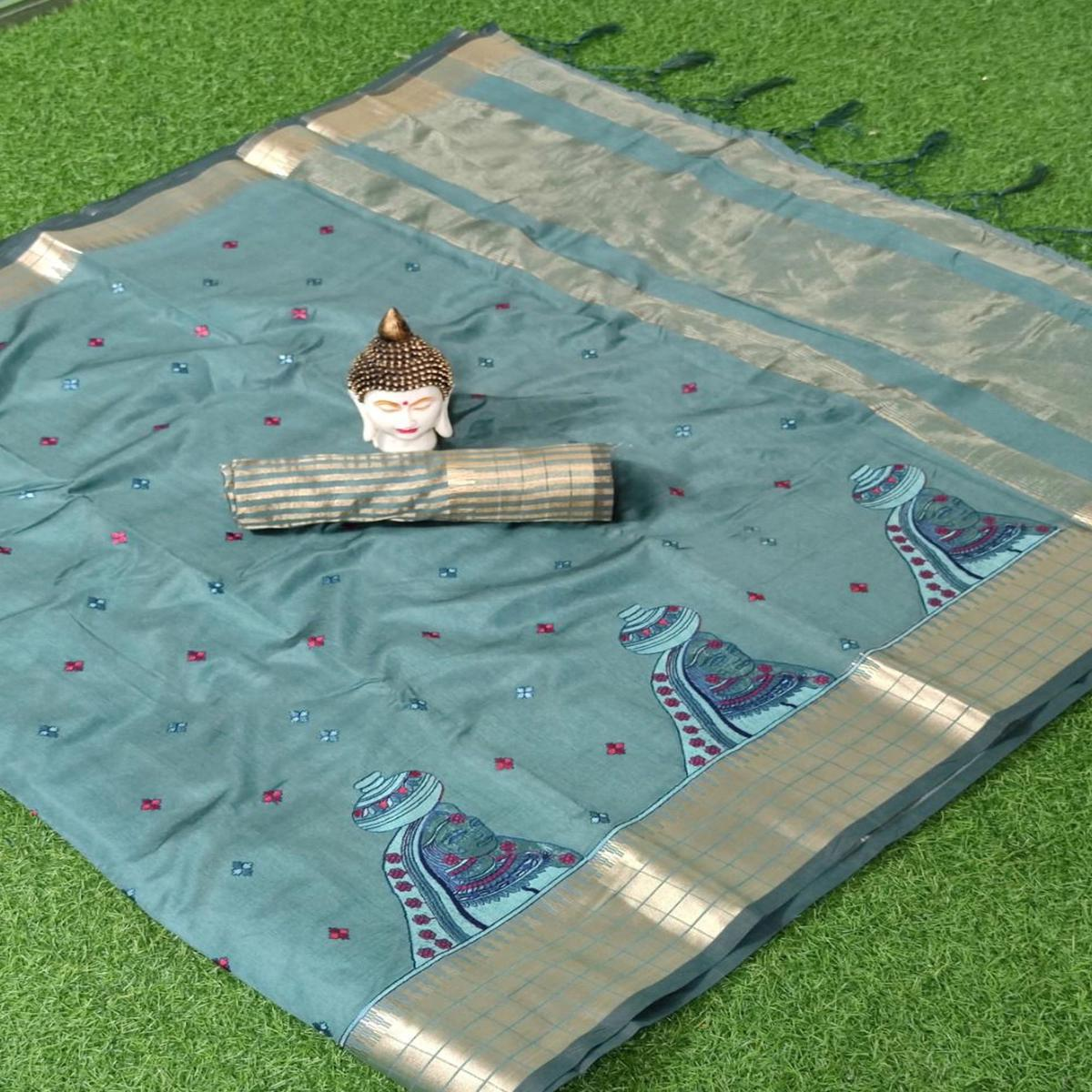Blissful Grey Colored Fesive Wear Embroidered Assam Silk Saree