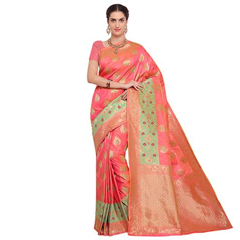 Trendy Peach Colored Designer Festive Wear Woven Banarasi Silk Saree