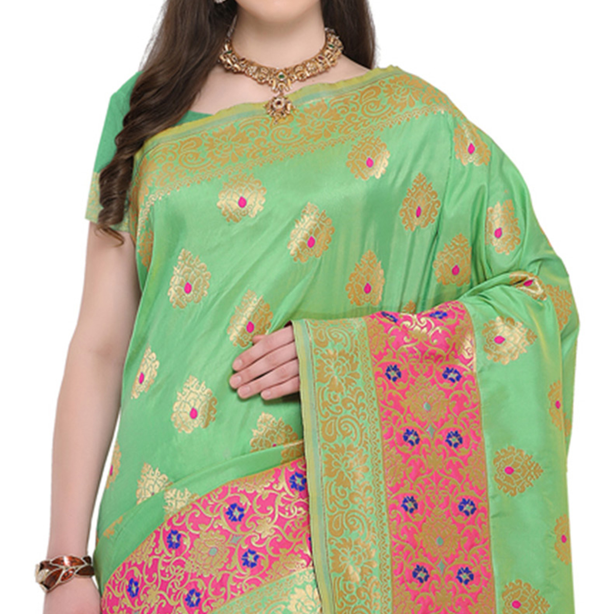 Attractive Green Colored Designer Festive Wear Woven Banarasi Silk Saree