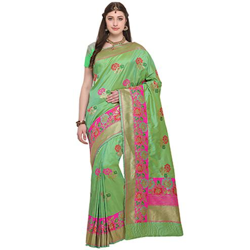 Elegant Green Colored Designer Festive Wear Woven Banarasi Silk Saree