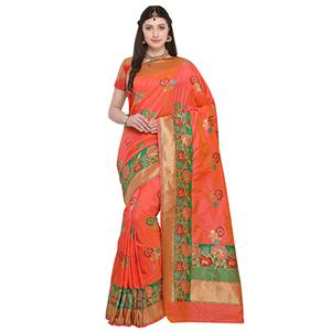 Dazzling Orange Colored Designer Festive Wear Woven Banarasi Silk Saree