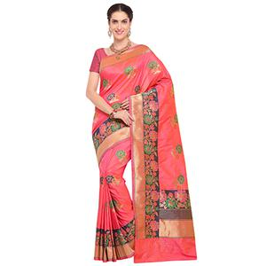 Mesmerising Peach Colored Designer Festive Wear Woven Banarasi Silk Saree
